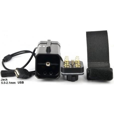 Porta baterías de 4x18650 con cables y USB para Bici XS1