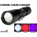 Linterna Ultrafire Zoom UF-V3 Tri Color Blanco, Rojo, UV