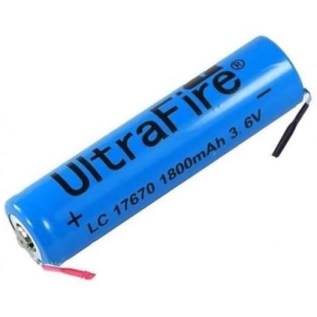 Batería Ultrafire 17670 1800mA No protegida Pcb