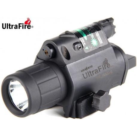 Linterna ULTRAFIRE Led-Laser Verde para armas