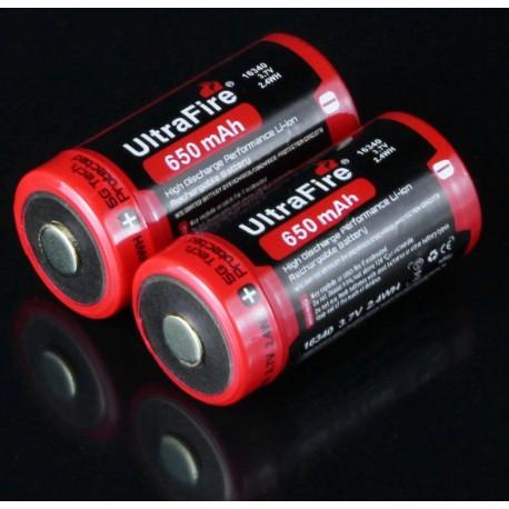 Batería Ultrafire UR16340 3,7v 650mA Protegida