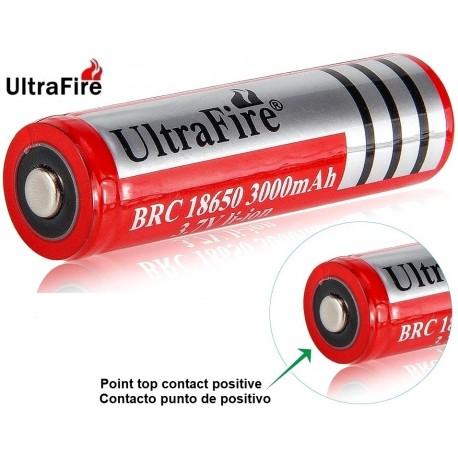 Batería Ultrafire BRC18650 de 3.7v 3.000mA Roja Protegida Punto
